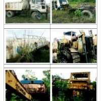 1 (satu) paket alat berat, dump truck, dan light vehicle yang telah dalam kondisi rusak berat, tidak utuh/tidak lengkap (limbah padat/scrap)