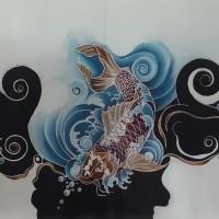 Sudiyanto - 1). Batik tulis motif ikan koi di Kota Batam