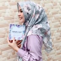Ninano.label (Lot 1) Sebuah Hijab Printing Watercolor warna abu-abu Bahan Voal Ultrafine Size 115x115 cm Pinggiran Laser Cut Eksklusif