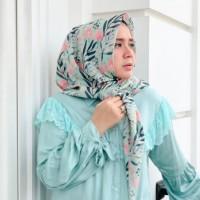 Ninano.label (Lot 2) Sebuah Hijab Printing Watercolor warna krem Bahan Voal Ultrafine Size 115x115 cm Pinggiran Laser Cut Eksklusif