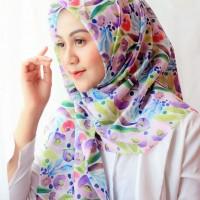 Ninano.label (Lot 4) Sebuah Hijab Printing Watercolor warna ungu muda Bahan Voal Ultrafine Size 115x115 cm Pinggiran Laser Cut Eksklusif