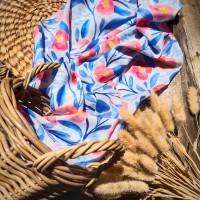 Ninano.label (Lot 7) Sebuah Hijab Printing Watercolor warna Broken White Bahan Voal Ultrafine Size 115x115 cm Pinggiran Laser Cut Eksklusif