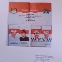Satu paket Surat Suara Bupati dan Wakil Bupati Klungkung Tahun 2018, Surat Suara Pilkada Bupati Klungkung Tahun 2018 (KPU KLK)