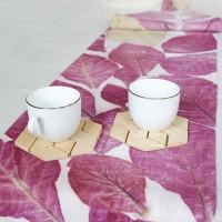 UMKM 13 : Taplak meja ecoprint bahan kanvas dengan motif daun jati (uk. 28 x 150cm) di Kota Singkawang