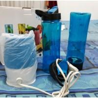 [SUKARELA] Dilelang 1 (satu) set Shake & Take Blander Buah Portable Juicer Mini, warna Biru, 2 botol plastik berikut tutup, kondisi baru