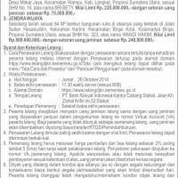 BRI Stabat, Tanah seluas 84 M2 berikut bangunan SHM No. 323 di Kel Kartini, Kec Binjai Kota, Kota Binjai