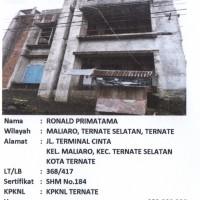 BTN TTE: Sebidang tanah luas 368 m2 berikut bangunan, sesuai SHM No. 184/Kelurahan Maliaro, Ternate