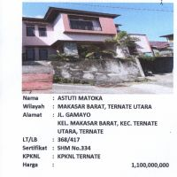 BTN TTE: Sebidang tanah luas 240 m2 berikut bangunan, sesuai SHM No. 334/Makassar Barat, Ternate