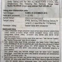 BRI SOREANG : T&B SHGB No. 1311, Lt. 139 m2, Komp. Soreang Residence Blok D2 No. 25, Ds. Gandasari, Kec. Katapang, Kab. Bandung