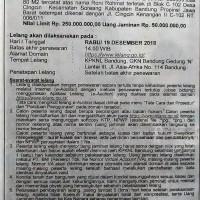 BRI SOREANG : T&B SHM No. 003539 Lt. 80 m2, Jl. Cingcin Kenangan II C-102, Kec. Soreang, Kab. Bandung