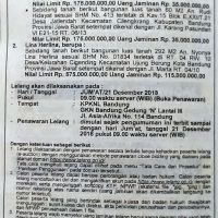 BRI SOREANG : T&B SHM No. 412, Lt. 60 m2, Jl. Karang Pasundan VI E21-14 RT. 06/13, Kec. Cilengkrang, Kab. Bandung