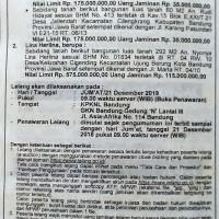 BRI NARIPAN : T&B SHM No. 01834, Lt. 292 m2, Jl. Marta, Cigending, Kec. Ujungberung, Kota Bandung
