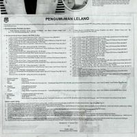 1 (satu) paket Barang Milik Daerah berupa 449 (Empat ratus empat puluh sembilan) Barang Inventaris