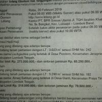 PT. BPR Sowan Utama: 4.Sebidang tanah pekarangan dan bangunan, SHM luas 530 M2 terletak di Ds. Monggas, Kec.Kopang, Kab. Lombok Tengah, NTB