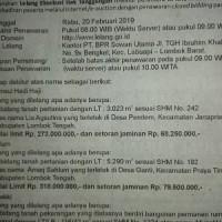 PT. BPR Sowan Utama: 1. Sebidang tanah pertanian SHM, luas 3.023M2 terletak di Ds. Pendem, Kec.Janapria, Kab. Lombok Tengah, NTB