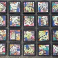[SENI] 4.1 (unit) Karya Seni Lukis; Judul: Menapak Langkah, Karya: Imam Teguh SY, Ukuran : 20 x 20 x 20 Panel, Media: Acrilic di atas Canvas