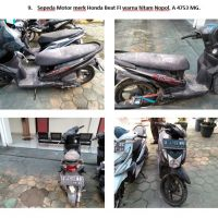 Lot 9 : Sepeda motor Honda Beat F1 warna hitam Nopol. A 4753 MG