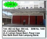 BRI Liwa- c. Sebidang tanah luas 462 m2+bangunan, SHM, di. Jl. Letnan Hasan Basri Pasar Liwa, Lam Bar.
