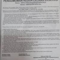 PN Cibinong : 2 (dua) bidang tanah + bangunan Hak Milik Adat Persil LT.1.770 m2 terletak di Ds Bangun Jaya Kec. Cigudeg Kab. Bogor