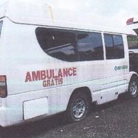 Ambulance Isuzu NHR 55, warna putih, tahun pembuatan 2003, Nopol DK 9205 W, milik PemKab Jembrana