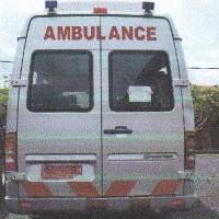 Ambulance Mercedes Benz Sprinter 413 CDI, warna silver, tahun pembuatan 2007, Nopol DK 9204 W, milik PemKab Jembrana