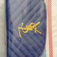 [Sukarela]1 (satu) buah dompet wanita (clutch kecil) warna biru motif YSL kondisi baru