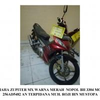 KEJARI MUBA: 1 (satu) unit Sepeda motor Yamaha Jupiter MX warna merah dengan nopol BH 3304 MO