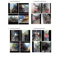 Univ.Indonesia : Roda Dua 2 unit Suzuki Trail, 1 unit  Yamaha RX-King, 1 unit Honda Win Kondisi Rusak Berat (apa adanya)