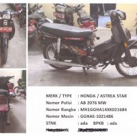 BKAD Gunungkidul 4.6: 1 (satu) unit sepeda motor merk/type Honda Astrea Star Nopol AB 2076 EW Tahun Pembuatan 1999 STNK/BPKB Ada