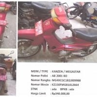 BKAD Gunungkidul 4.5: 1 (satu) unit sepeda motor merk/type Kanzen Megastar Nopol AB 2001 BD Tahun Pembuatan 2002 STNK/BPKB Ada