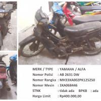 BKAD Gunungkidul 4.7: 1 (satu) unit sepeda motor merk/type Yamaha Alfa Nopol AB 2631 DW Tahun Pembuatan 1993 STNK TidakAda