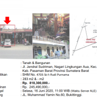[BMRI] 1a. Sebidang tanah seluas 283 M2 berikut bangunan, SHM No. 4703, di Nagari Lingkungan Aua, Kec. Pasaman, Kab. Pasaman Barat