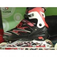 [Sukarela]Sepasang Sepatu Roda Merk Bonwei warna Hitam,Merah dan Putih