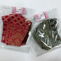 33 UMKM : 2 (dua) pcs masker bahan songket, model hijab dan non hijab, kain 3 lapis