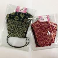 34 UMKM : 2 (dua) pcs masker bahan songket, model hijab dan non hijab, kain 3 lapis