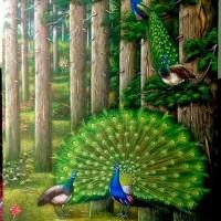 5. UMKM. Satu buah lukisan merak ukuran 140x90 cm