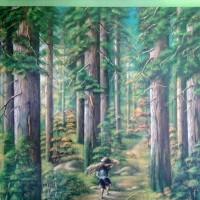 6. UMKM. Satu buah lukisan hutan pinus ukuran 150x120 cm