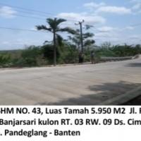 Bukopin:Sebidang tanah kosong luas 5.950 m2 SHM No.43,alan Raya Sobang, KP. Banjarsari Kulon RT.03 RW.09,Cigeulis, Kab. Pandeglang