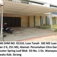 Bukopin:Sebidang tanah luas 182 m2, SHM No. 01210,+bangunan,Perum Citra Garden BMW Cluster Spring Leaf Blok D03 No.1 Kramatwatu Kab. Serang