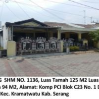Bukopin:Sebidang tanah luas 125 m2, SHM No. 1136,+bangunan Komp. PCI Indah Blok C.23 No.1 Kramatwatu, Kab Serang