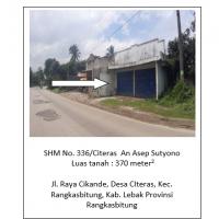 Sebidang tanah seluas 370 m2 berikut bangunan terletak di Desa/Kelurahan Citeras, Kecamatan Rangkasbitung, Kabupaten Lebak BRI RANGKASBITUNG