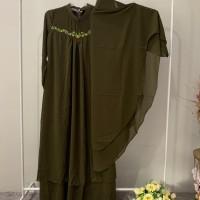 Fera Puspita (4) : 1 (satu) set gamis syar'i bordir warna army