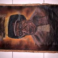 LOT 22: Lukisan kulit kayu kepala suku dari Wamena