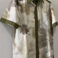 UMKM 10 : Kemeja Pria Ecoprint motif Daun Jarak Kombinasi Hijau uk. M di Kota Singkawang