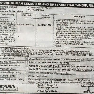 BSM : T&B SHM No. 2153, Lt. 195 m2, Jl. Jalaprang No. 81, Kel. Sukaluyu, Kec. Cibeunying Kaler, Kota Bandung