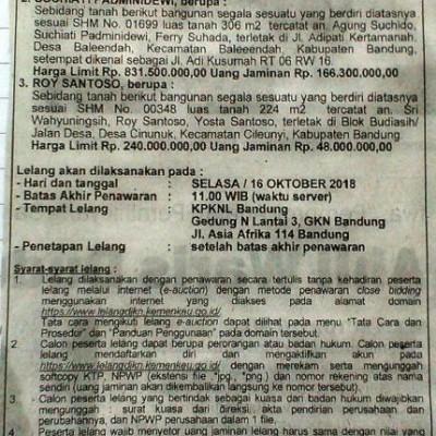 PNM : T&B SHM No. 01699 Lt. 306 m2, Jl. Adi Kusumah RT 06 RW 16, Ds. Baleendah, Kec. Baleendah, Kab. Bandung