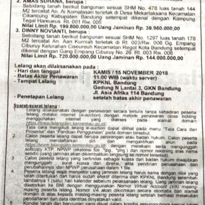 PNM : T&B SHM No. 1297, Lt. 178 m2, Gg. Empang Ciburuy No. 26, Kel. Ciseureuh, Kec. Regol, Kota Bandung