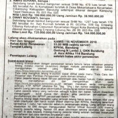 PNM : T&B SHM No. 478, Lt. 144 m2, Kp. Tegal Hareueus, Ds. Mekarlaksana, Kec. Cikancung, Kab. Bandung