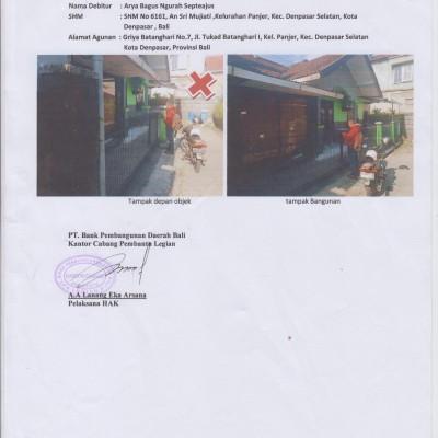 1 (satu) bidang tanah dan bangunan, SHM No.6161, terletak di Denpasar (BPD Bali Capem Legian)
