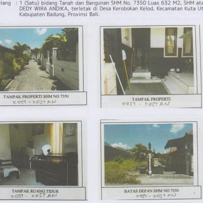 Tanah dan bangunan, SHM No. 7350, luas 632m2, di Desa Kerobokan Kelod, Kec. Kuta Utara, Kab. Badung (BPR Lestari)